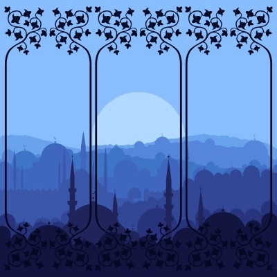 mosque blue night vector